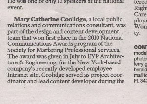 MC in today's Sarasota Herald Trib Business People section