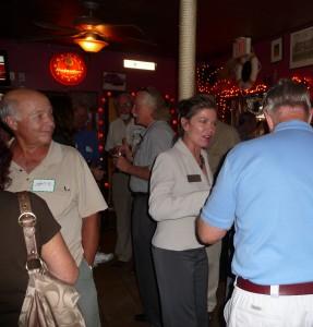 Nancy Feehan works the crowd.